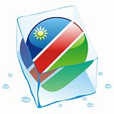 vector illustration of namibia button flag frozen in ice cube
