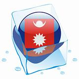vector illustration of nepal button flag frozen in ice cube