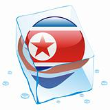 vector illustration of north korea button flag frozen in ice cube