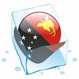 vector illustration of papua new guinea button flag frozen in ice cube