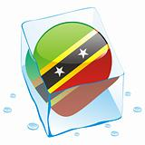 illustration of saint kitts and nevis button flag frozen in ice cube