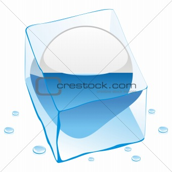 vector illustration of san marino button flag frozen in ice cube