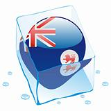vector illustration of tasmania  button flag frozen in ice cube