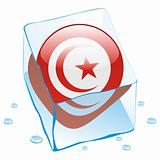 vector illustration of tunisia button flag frozen in ice cube
