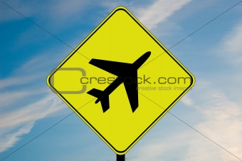Airplane caution sign