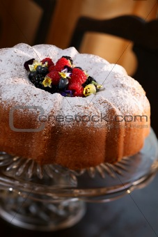 Pound Cake with Berries - clipping path