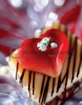 Cake Topped with Heart and Flowers - clipping path