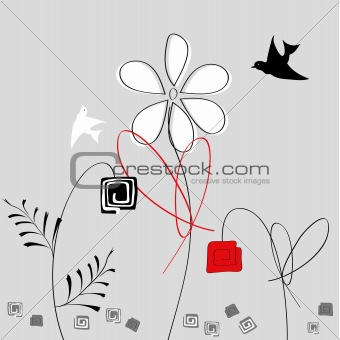 Abstract flowers with birds