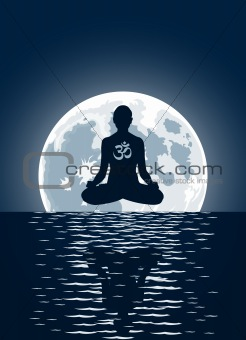 Vector yoga over moon background  