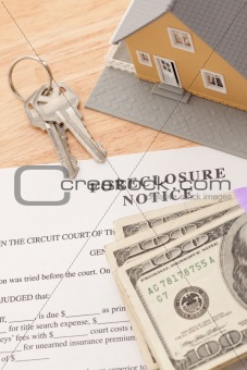 Foreclosure Notice, Home, House Keys and Stack of Money - Cash for Keys Program.