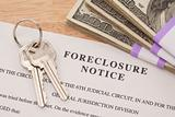 House Keys, Stack of Money and Foreclosure Notice - Cash for Keys Program.