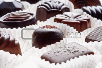 assortment of delicious dark chocolate pralines