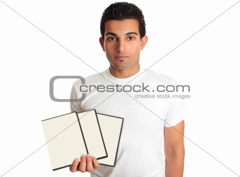 Man holding set DVD movies or games in his hand