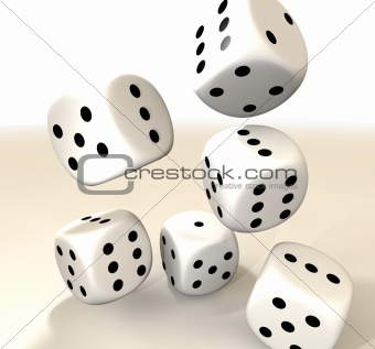 six white casino dice