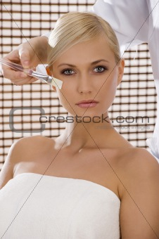 beauty with brush