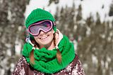 Young skier smiling