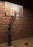 old brick wall and basketball