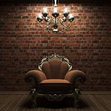 illuminated brick wall and chair