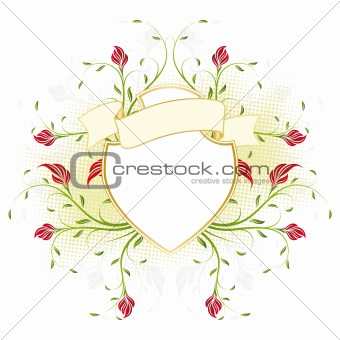 Vector retro shield with flowers
