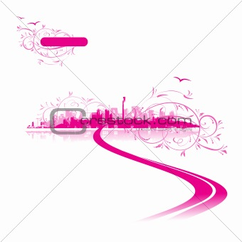 Cityscape background pink, urban art