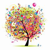 Happy holiday, funny tree with baloons