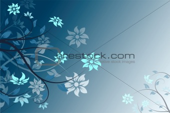 Abstract blue vector flower background