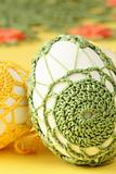 Green and yellow crochet Easter eggs