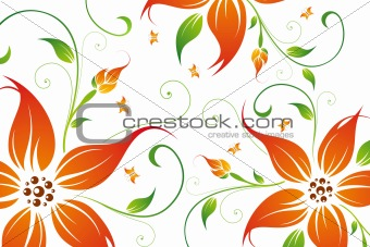 Abstract vector flower background with butterfly
