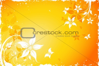 Grunge flower background with butterfly