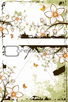Grunge flower tree with copyspace