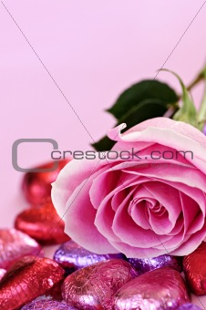 Valentine rose and candy