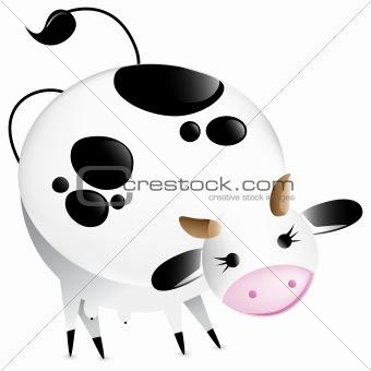 Cute vector glossy cow