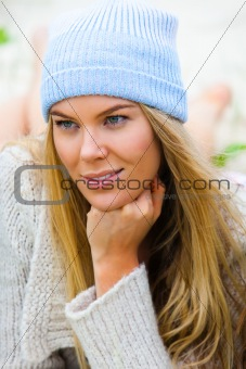 Attractive Young Woman With Knit Cap