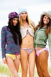 Three Friends in Bikinis and Outerwear