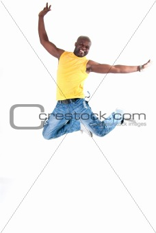 Black man cheerful