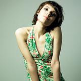 Beautiful young woman in elegant dress