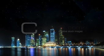 Singapore Panoramic with stars
