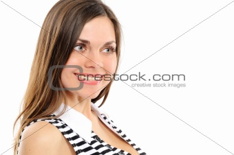 Positive young woman smiling over white background