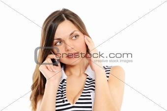 beautiful business woman speaks by phone