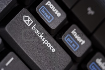 close up of abackspace key from a black computer keyboard