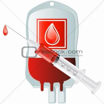 blood donation with syringe