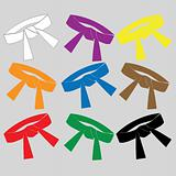 Martial ARTS.Symbol. Colored BELTS.SET.