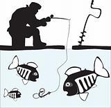 Fishing. Fisher. Fish. Ice Fishing on the Lake