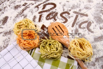 Assortment of colored italian pasta