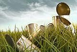 Discarded aluminum cans in tall grass