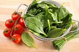 Strainer with spinach leaves and tomatoes
