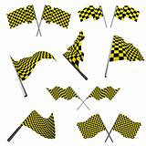 checked racing flags set
