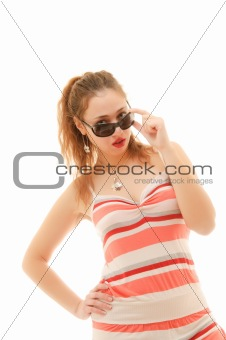 woman wearing her sunglasses