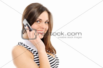 beautiful business woman speaks by phone, on a white background