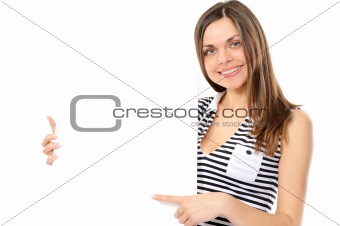 Beautiful girl holding empty white board on a white background